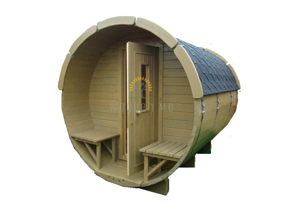 Sauna barrel with changing room 3.5 m Ø 1.9 m