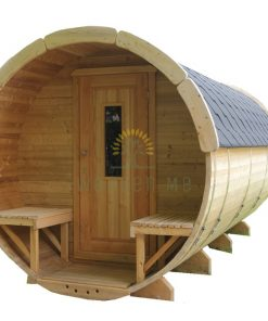 Sauna barrel with changing room 3.5 m Ø 2.2 m