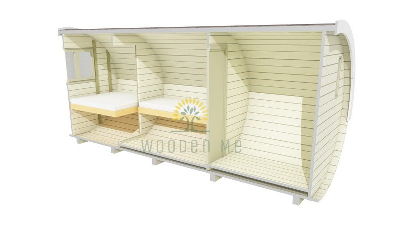 Sleeping barrel 2.2 x 5.4 m (with side entrance and furniture)
