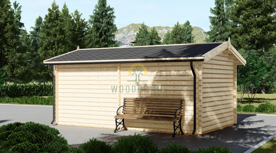 Wooden garage (3,20 x 5,20), 44mm